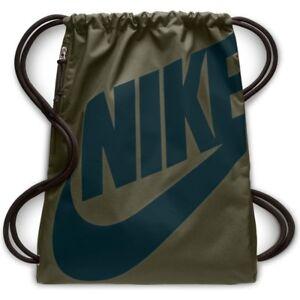 053054b29914d Das Bild wird geladen Nike-Heritage-Gymsack-Turnbeutel-oliv-blau -Gymbag-Sportbeutel-