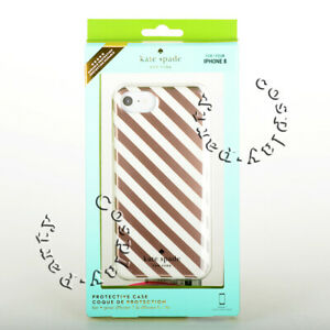 Kate-Spade-Protective-iPhone-7-amp-iPhone-8-Case-Cover-For-Rose-Gold-Cream-Stripes