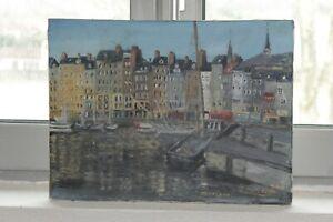 Huile-sur-toile-034-Port-de-Honfleur-034-peint-et-signe-par-J-Marcassin