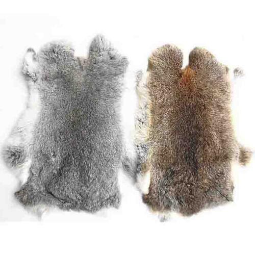 1Pc Genuine Natural Grey Rabbit Fur Skin Tanned Leather Hide Craft Soft Pelt #s1