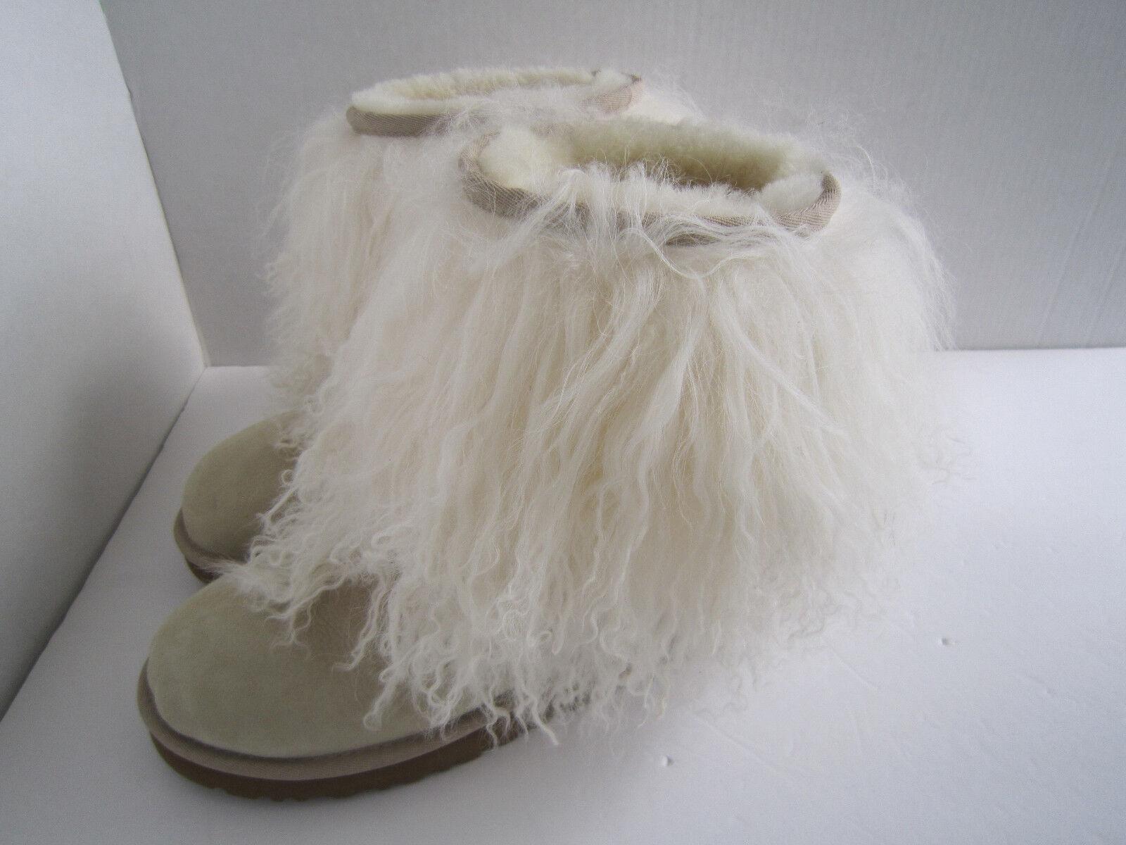 Ugg Australia Sheepskin Mongolian Hair Short Cuff boots Women's Sand  Sz 7