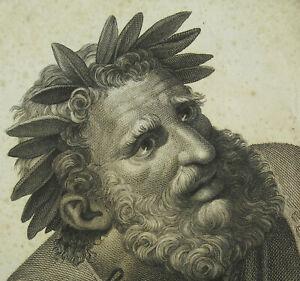 Engraving-Pindar-Poet-Lyrique-After-Raphael-Sanzio-Xixth-c1800-Giuse-Bortignoni