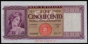 ITALY-500-LIRE-1961-034-ITALIA-ORNATA-DI-SPIGHE-034-SUP-BEAUTIFUL-amp-RARE-BANKNOTE