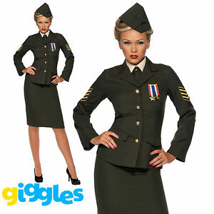 Wartime-1940s-WW2-Army-Officer-Uniform-Costume-Womens-Ladies-Fancy-Dress-Outfit