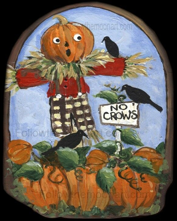 No Crows Little Scarecrow in Pumpkin Patch Harvest Time Crows  Wall Art Print