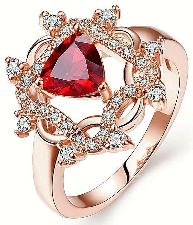 1.07ct NATURAL DIAMOND RUBY 14K pink gold WEDDING ANNIVERSARY CLUSTER RING