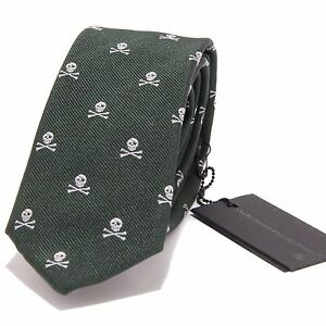 5391s Cravatta Uomo Messagerie Seta Verde Silk Green Tie Men
