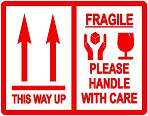 This Way Up / Fragile Packing Stickers - 103 x 80mm - Various Pack Sizes