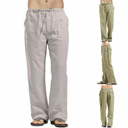 2019 Casual Loose Straight Cotton Drawstring Pants Men/'s Linen Solid Trousers SF
