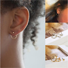 Fashion Circle Gold Silver Round Earring Metal Stud Ear Women Jewelry Earrings