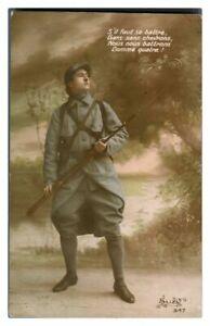 Antique-military-WW1-RPPC-postcard-portrait-of-French-Soldier-Sil-faut-se-battre