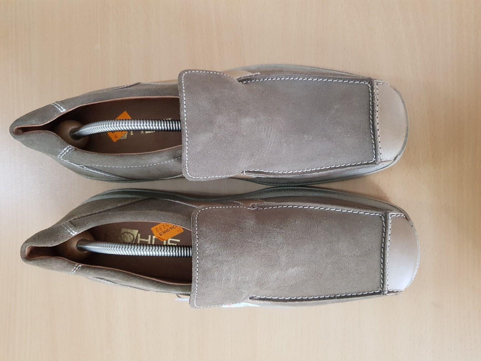 Rohde Herren Schuhe  Slipper WildLeder grau 11 braun Gr. 11 grau / 46 TOP d50f46