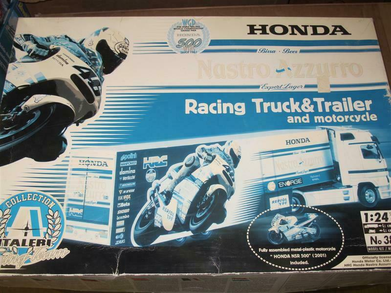 1 24 Honda Nastru Azzuro Racing Truck and Trailer with Rossi Motorcycle