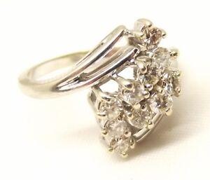 Vtg-14K-White-Gold-Diamond-Cluster-Ring-Sz-6-Harem-50-tcw-Carat-Estate-Ornate