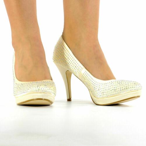 Donna Ragazze diamante tacchi alti da sposa prom sera Party Tg UK 3-8