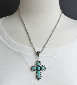 Turquoise-Silver-cross-necklace-cross-pendant-silver-chain-18-21-034-long-necklace