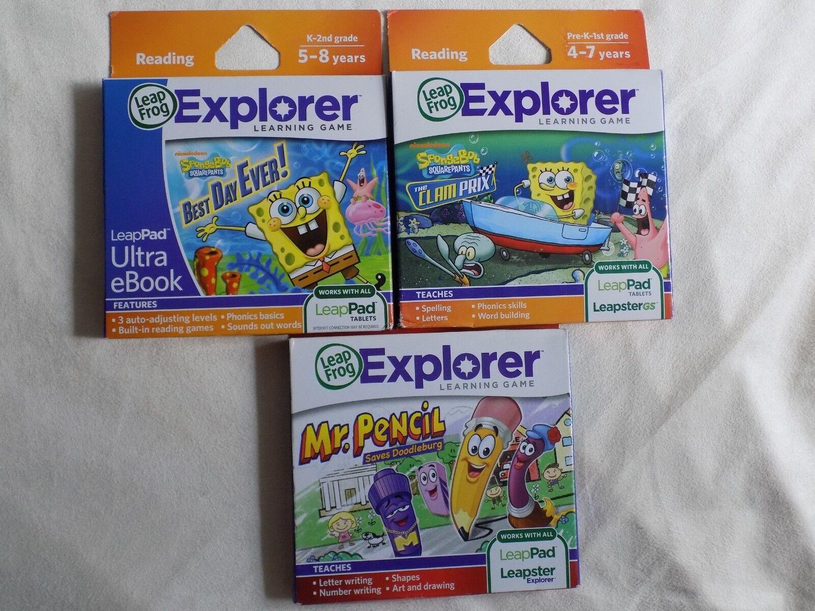 3 Explorer Learning Game SvampBob Fyrkanter Clam Prix Bästa dagen någonsin Mr Pencil