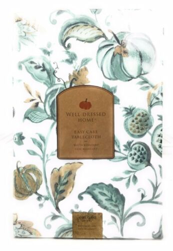 """Well Dressed Home Easy Care Tablecloth 60X84/"""" Pumpkins and Pomegranates Teal Tan"""