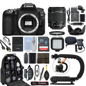 Canon EOS 90D Digital SLR Camera with 18-55mm IS STM Lens + 64GB Pro Video Kit