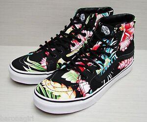 ed914f1be62 Vans SK8-Hi Slim (Hawaiian Floral) Black VN-000XH7FFZ Women s Size ...