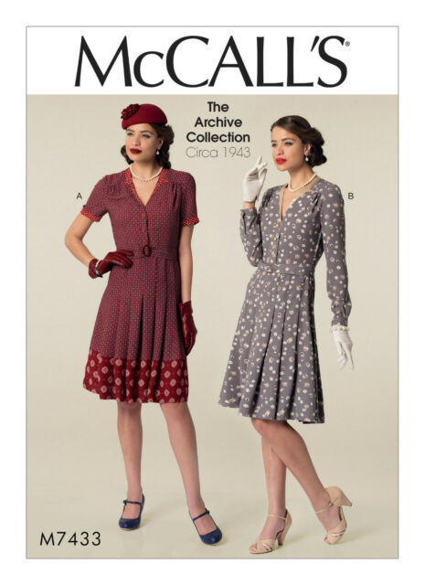 McCalls Retro Sewing Pattern M7433 Misses 1940s Dresses & Belt 6 8 ...