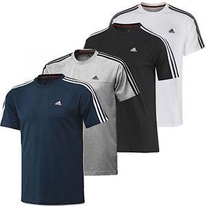 Nuevas-Adidas-Para-Hombre-Essentials-3-Rayas-de-Cuello-Redondo-Camiseta-S-M-L-XL