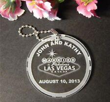 Custom Las Vegas Wedding Acrylic Key Chain Favors - Qty 25 keychain