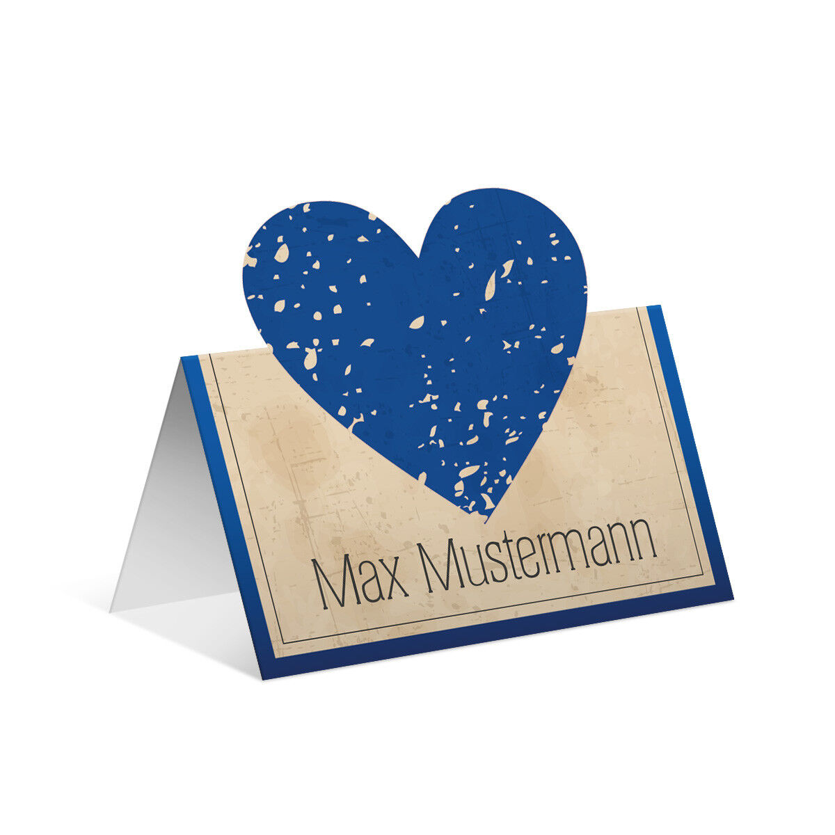 Pop up Tischkarten Hochzeit - Vintage Herz in Blau - Platzkarten