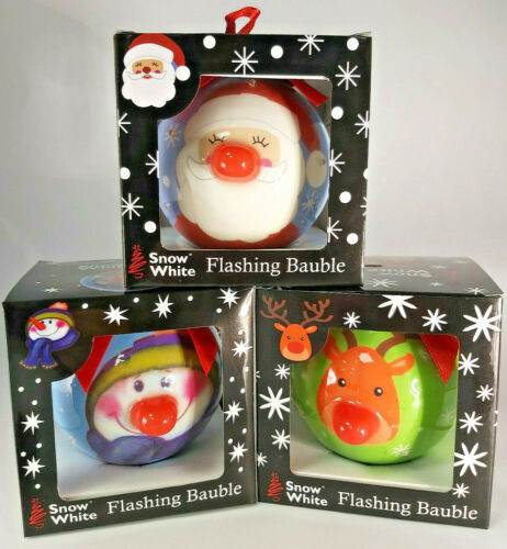 FLASHING BAUBLE IN GIFT BOX SANTA REINDEER SNOWMAN NOSE TWINKLE LED BOW HANGING