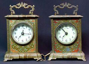 Inventif C 1900 Mucha Superbe Paire Pendules Pendulette Art Nouveau 17cm Clock Réveil ChronoméTrage Ponctuel