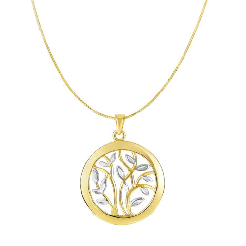"""Details about  /14k Yellow And White Gold Round Tree Of Life Necklace 18/"""""""