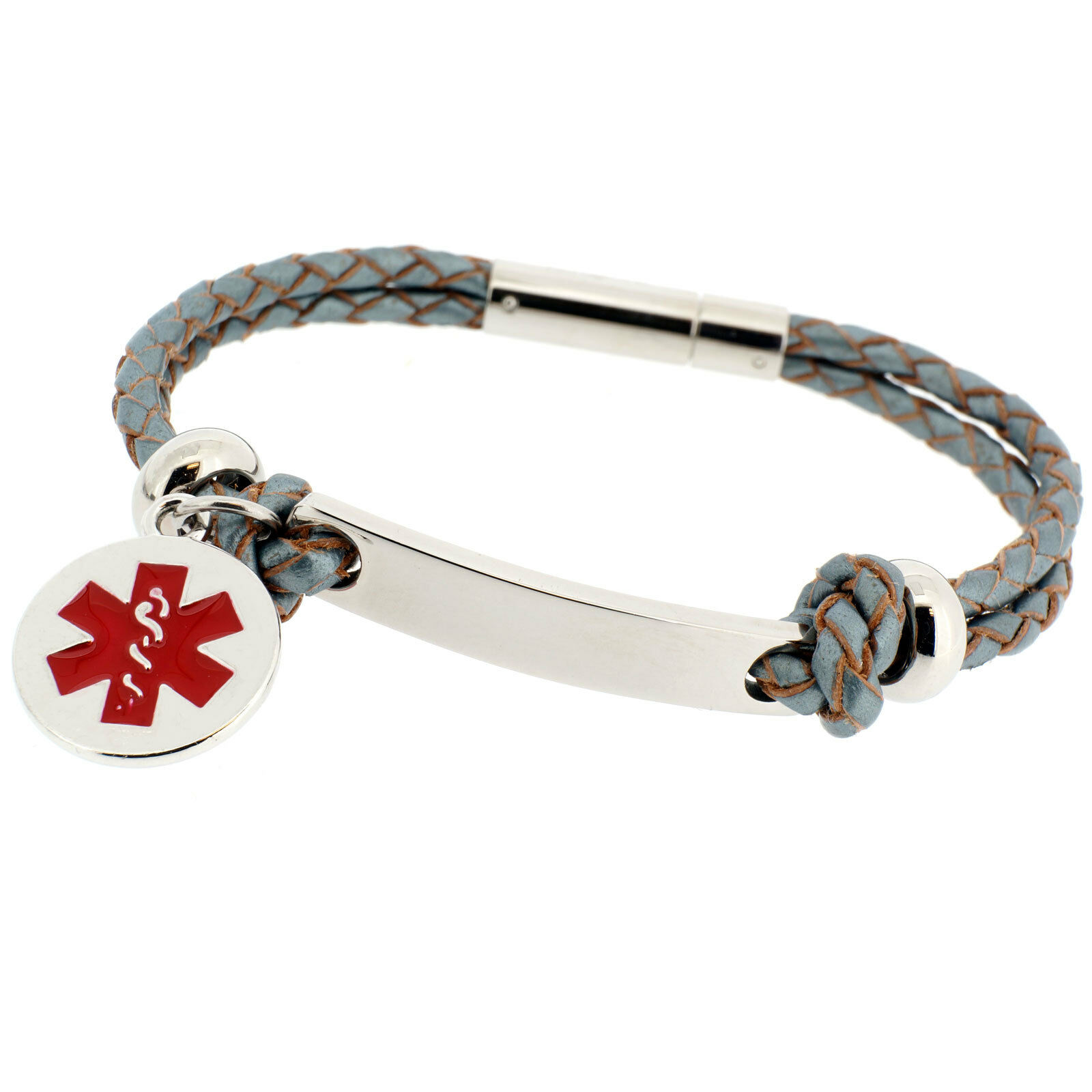 Women's Fashion LIFE SAVING ENGRAVED MEDICAL SOS ID ALERT Leather Bracelet