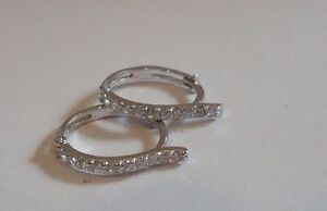 925-STERLING-SILVER-HUGGIE-EARRINGS-W-25-CT-DIAMOND-ACCENTS-NEW-DESIGN