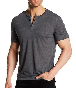 John-Varvatos-Star-USA-Men-039-s-Short-Sleeve-3-Button-Crew-Henley-Shirt-Black