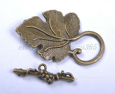 5 Sets SILVER, GOLD, BRONZE, Brass Grape Leaf Toggle Clasp For Making Jewelry