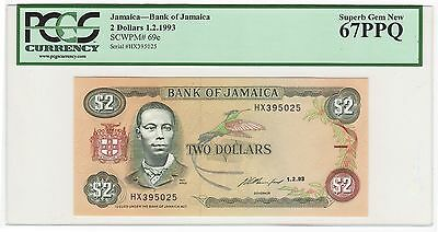 1993 Jamaica $2 Two Dollars Bank Note Bill - Pick# 69e - PCGS GEM NEW 67 PPQ