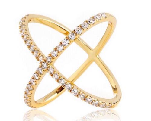 2.45 CW CZ Yellow Gold X Ring Minimalist Geometric Criss Cross Circle Size 8