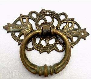 antique hardware drawer pull vintage ring pull brass Victorian salvaged parts