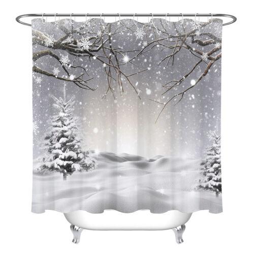 Nature Winter Snow Landscape Snowy Trees Shower Curtain Set Bathroom Decor 180cm