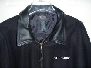 SHIMANO-Vintage-Sport-Fishing-Jacket-Wool-Leather-XXL-New