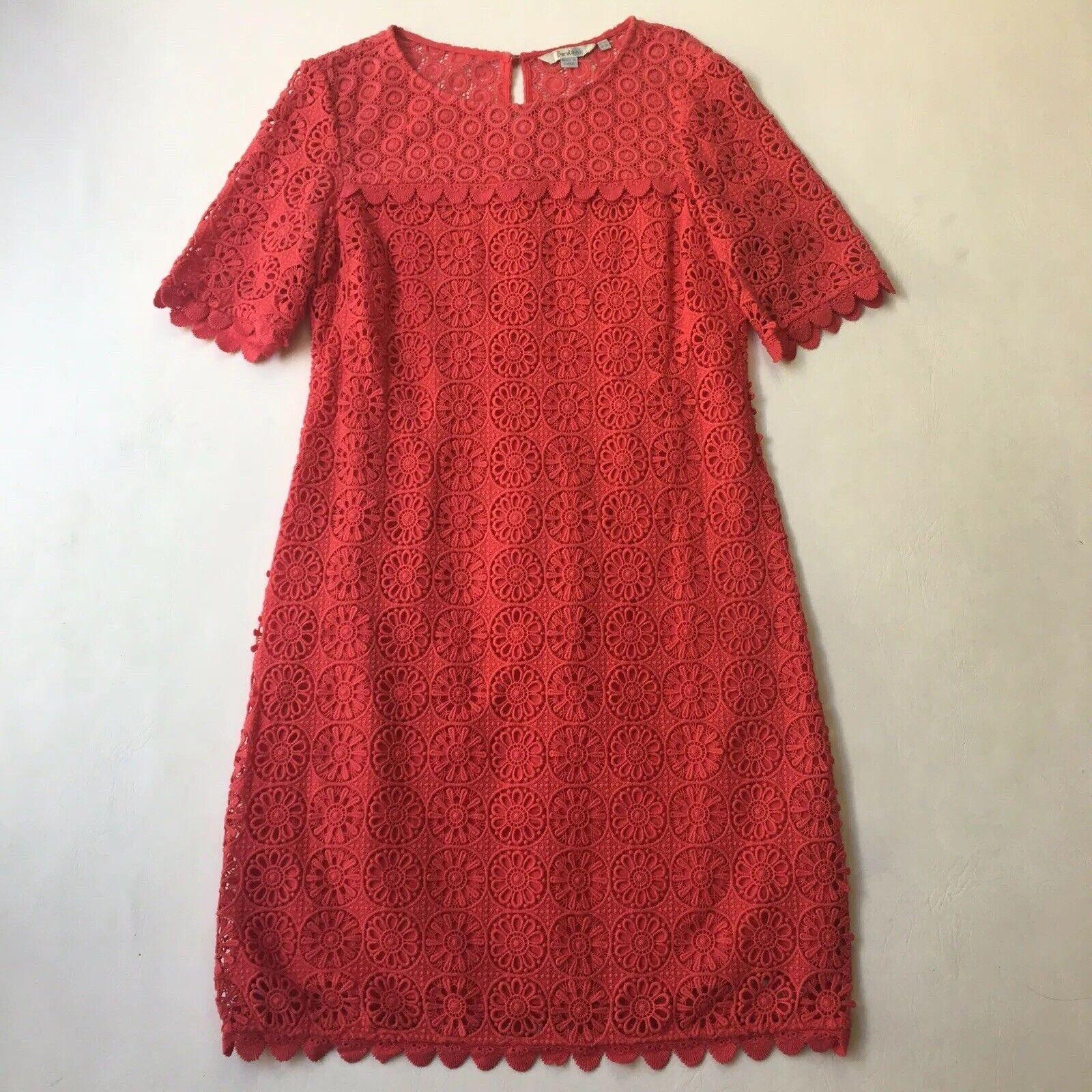 Boden Coral Eyelet Sheath Dress Crochet Scalloped Hem Easter Spring Sz 10R