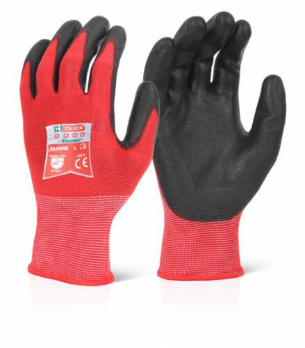 PU Coated Gants De Nylon Gants-Rouge-Taille 9//Large-Pack de 20