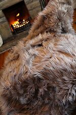 Large Mongolian Faux Fur Grey Beige Brown Throw Feather Look Long Hair