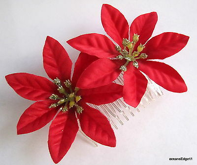 "Dbl 3.5"" Red Glitter Poinsettia Flower Hair Comb,Pin Up,Updo,Holiday,Christmas"