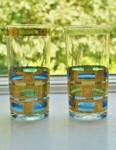 Culver-Empress-Highball-Glasses-Pair-Mid-Century-Modern-Green-Blue-Gold