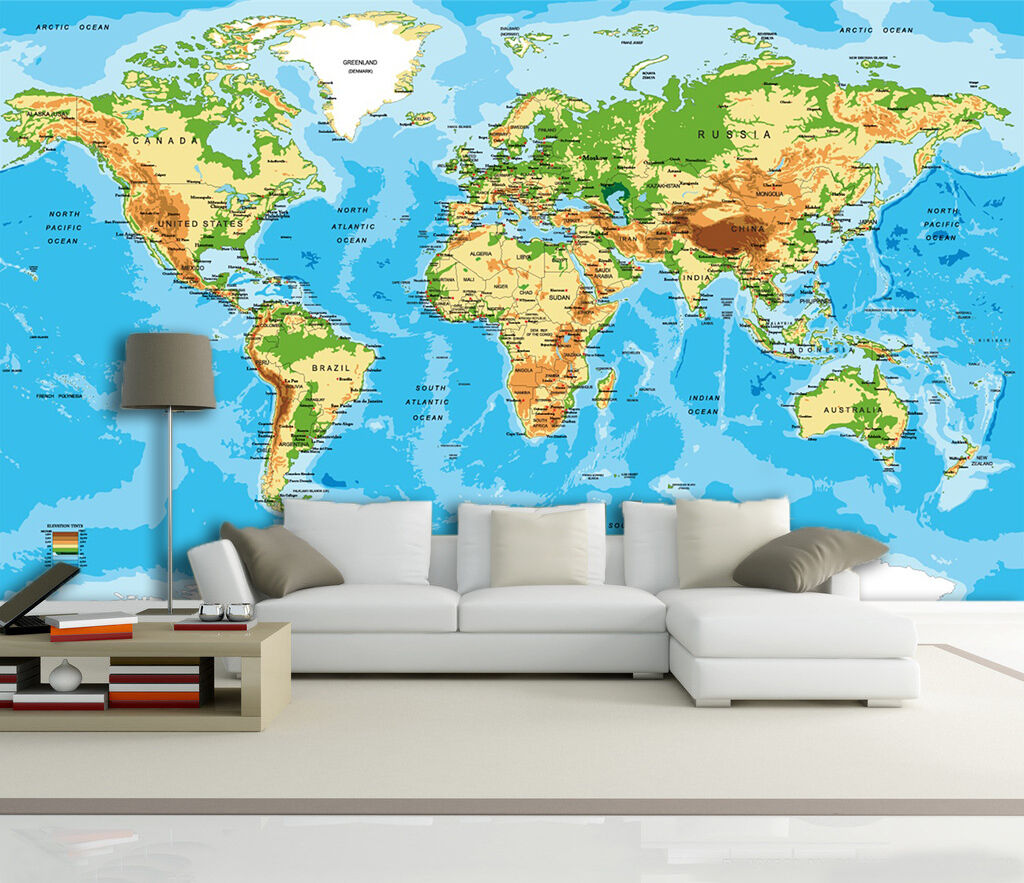 3D Map World 66 Wall Paper Wall Print Decal Wall Deco Indoor Wall