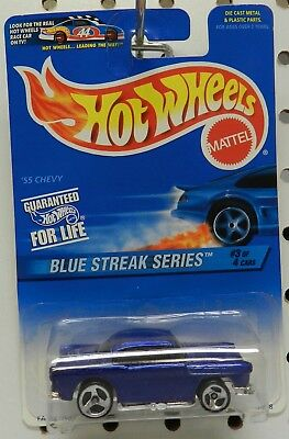 Hot Wheels 1996 Blue Streak Series 1955 55 Chevy #3 of 4 cars #575 mattel