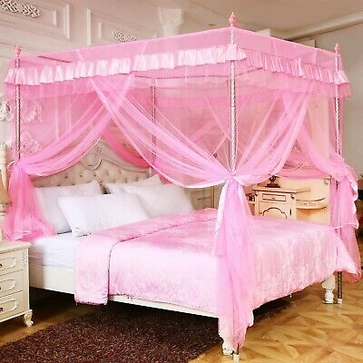 pink princess 4 corners post canopy bed curtains for girls kids toddlers crib ebay