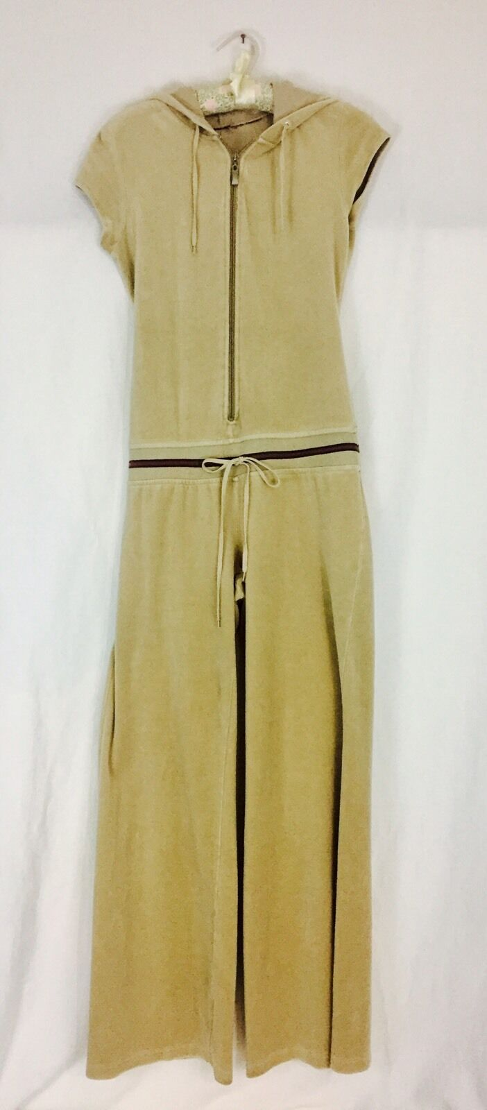 Vintage 1980's Velour Hooded Jumpsuit Women's Medium Tan Brown