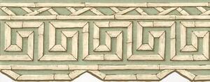 Wallpaper-Border-Cream-amp-Brown-Bamboo-Key-Trellis-on-Light-Green-Die-Cut